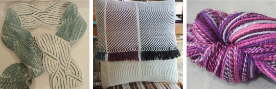 From left to right: Craftsy user Nancy Merchant's scarf from the Knit Lab: Fit Your Knits class, Craftsy user Janet Dawson's woven pillow from the Floor Loom Weaving class, and Craftsy user knitwit41's handspun yarn from the Spinning Dyed Fibers class.