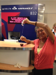 Irene is spinning without limis at the airport en route to Florida, her base for Spinning and Weaving Week.